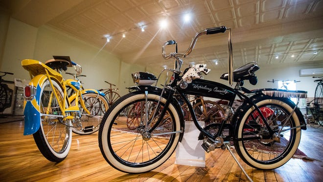 A 1951 Rollfast Hopalong Cassidy bicycle stands on display at the Velocipede Museum on Liberty Street in the City of Newburgh. The museum features vintage bicycles from Motorcyclepedia owner Ted Doering's collection.