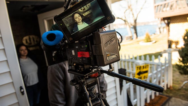 """Below the Line Bootcamp student Monica Maisonet works as a stand-in for actress Lili Taylor during filming of the """"Winter House,"""" a Choice Films movie production, on Feb. 14 in the Town of Newburgh. Choice Films also runs a bootcamp that teaches locals to work in film production."""