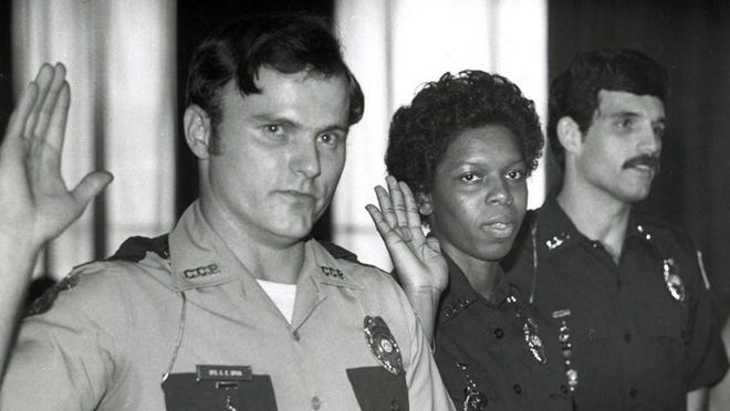 New police officers in 1981 Carl Spiva, Juliette Tolbert and Bruce Watkins. Tolbert retired from the Savannah Police Department in 2017 as an assistant police chief.