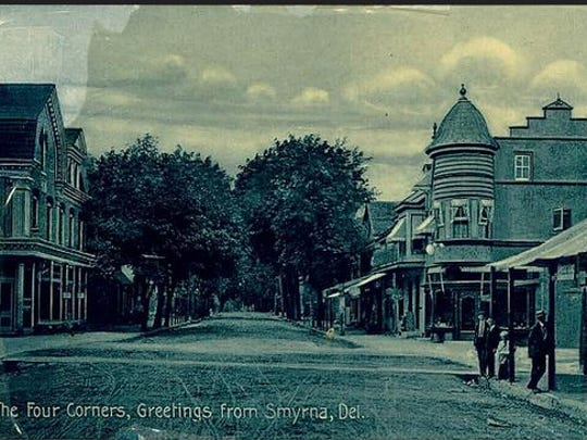 The Four Corners area of Smyrna is featured on an old postcard.