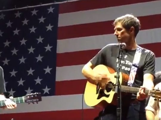U.S. Rep. Beto O'Rourke performs with country music singer Willie Nelson in Austin on the Fourth of July.