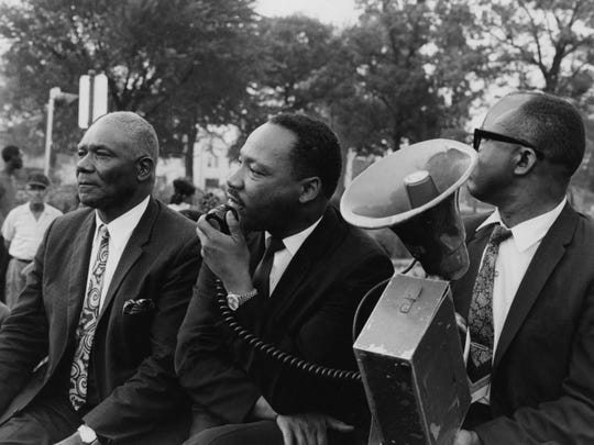 Dr. Martin Luther King addressed open housing demonstrators in Louisville's South End.    Aug. 2, 1967