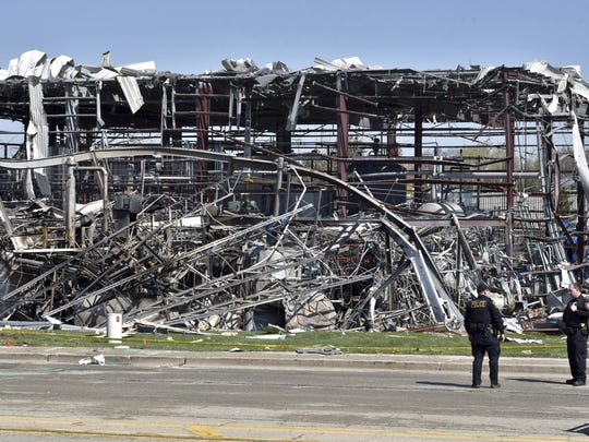 Emergency personnel work at the scene of an explosion at AB Specialty Silicones on Sunset Ave. and Northwestern Ave. on the border between Gurnee, Ill., and Waukegan on Saturday, May 4, 2019.