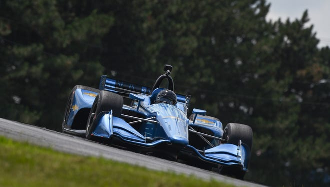 Juan Pablo Montoya drives Chevrolet's 2018 Indy car during Tuesday's test at Mid-Ohio Sports Car Course.