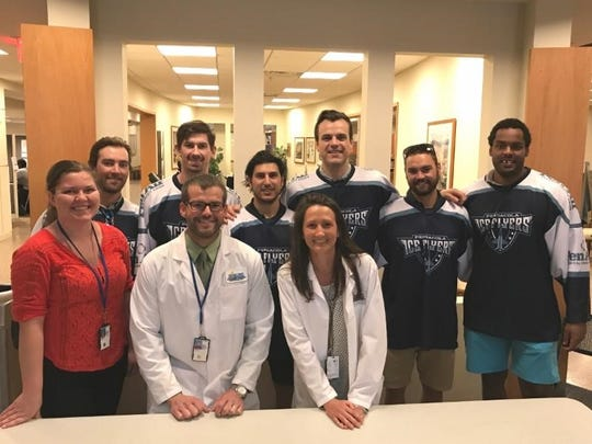 Members of the Pensacola Ice Flyers visited with the Gulf Coast Veterans Health Care System's Joint Ambulatory Care Center in Pensacola.