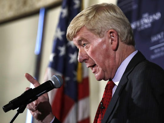 Former Massachusetts Gov. William Weld gestures during a New England Council 'Politics & Eggs' breakfast in Bedford, N.H., Friday, Feb. 15, 2019. Weld announced he's creating a presidential exploratory committee for a run in the 2020 election.