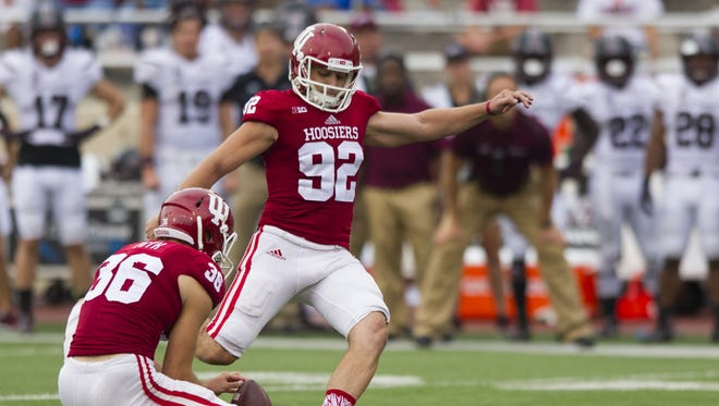 Indiana Hoosiers place kicker Griffin Oakes (92) kicks a field goal during second-half action of a NCAA football game, Saturday, September 5, 2015, in Bloomington. Indiana won the game 48-47.