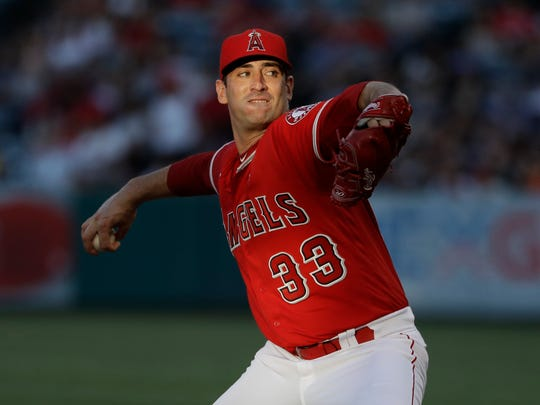 Los Angeles Angels starter Matt Harvey throws to a Seattle Mariners batter during the fourth inning of a baseball game Saturday, July 13, 2019, in Anaheim, Calif. (AP Photo/Marcio Jose Sanchez)