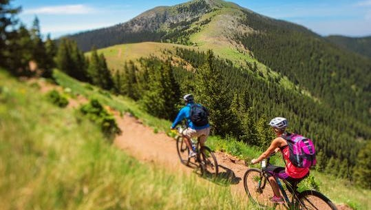 Ski Apache completed a new 5.5 mile mountain bike trail that travels under Sierra Blanca Peak from the top of the gondola, back to the base area of Ski Apache.