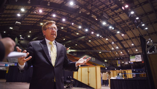Mayor Mike Huether meets with Sioux Falls Finance Director Tracy Turbak and General Manager for SMG Terry Torkildson Thursday, Oct. 26, to discuss current condition of the Sioux Falls Arena.