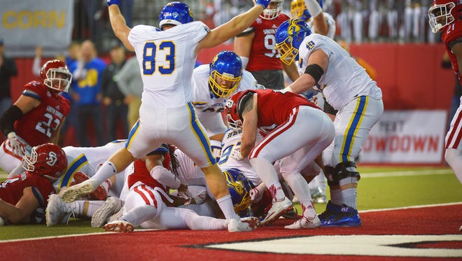 SDSU scores a touchdown against USD Saturday, Nov. 18, at the DakotaDome in Vermillion.