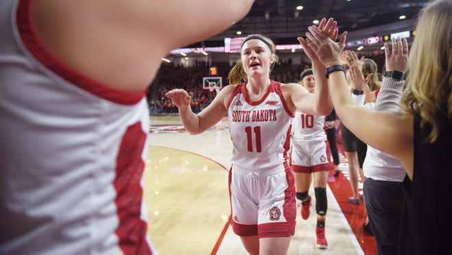 USD's Monica Arens high fives her teammates after they walk onto the court before the game against SDSU Wednesday, Feb 21, in Vermillion.