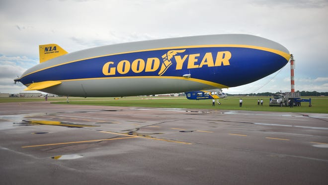 The Goodyear Blimp takes off at the Sioux Falls Regional Airport Wednesday, June 27, in Sioux Falls.