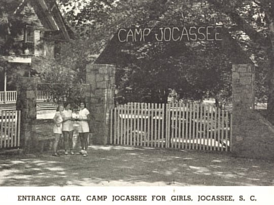 A postcard, above, depicts the popular Camp Jocassee for girls. The stone columns still stand erect at the bottom of the lake.
