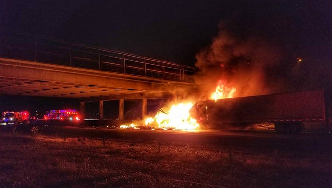A truck crashed and caught fire near the off-ramp to Highway 20 in Albany early Friday.