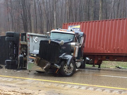 watara Township crash: A tractor-trailer hauling 1,400 pounds of butane lighters overturned onto its side at 11:07 a.m. Thursday, April 7, 2016, in the northbound lanes of Interstate 81 at mile marker 93, according to emergency dispatch reports. A saddle tank on the trailer leaked fuel. The northbound lanes were closed while crews were at the scene. Adding more lanes to the highway could improve traffic flow during some accidents, experts say.