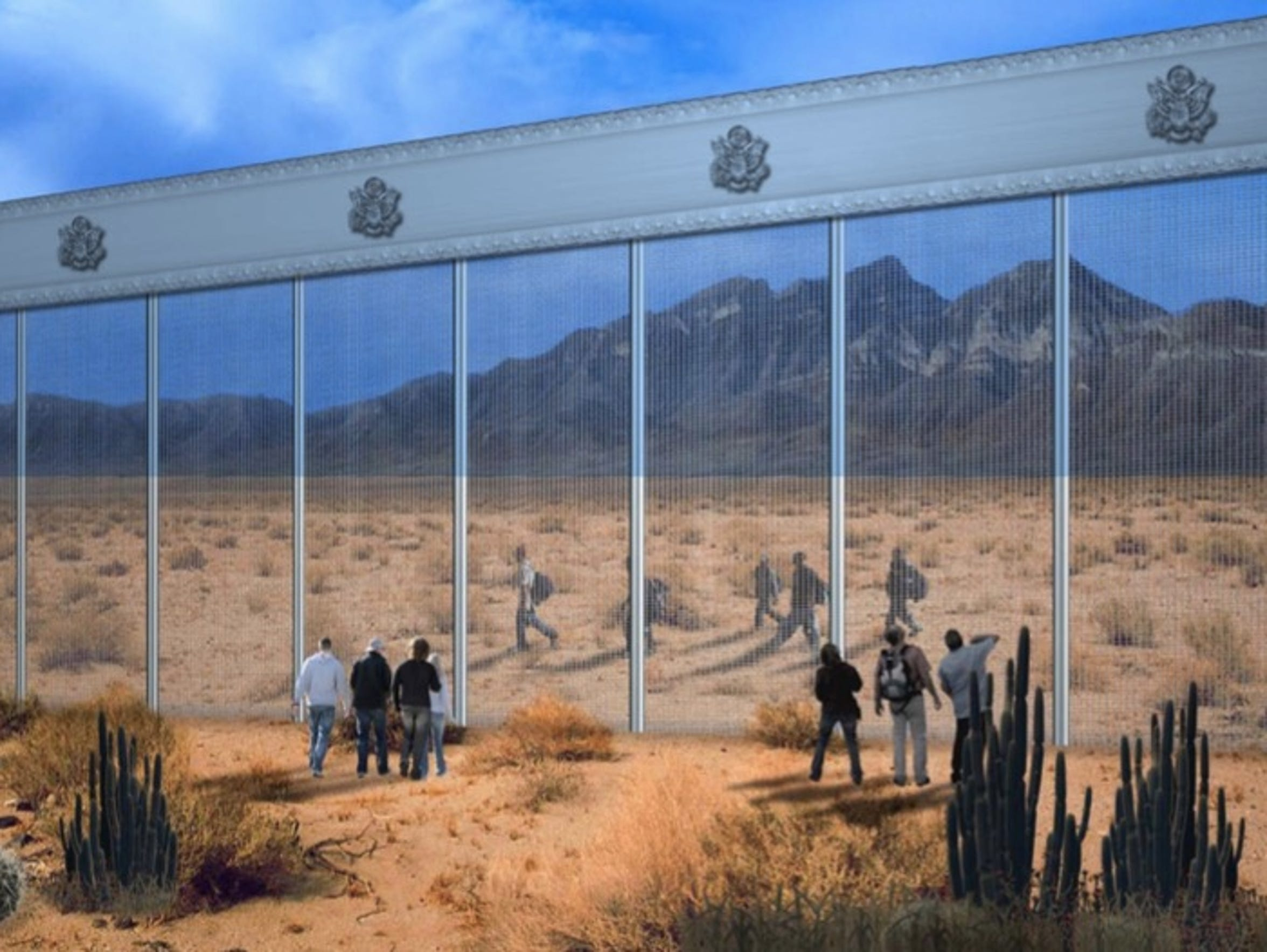 A design of a possible border wall along the U.S.-Mexico