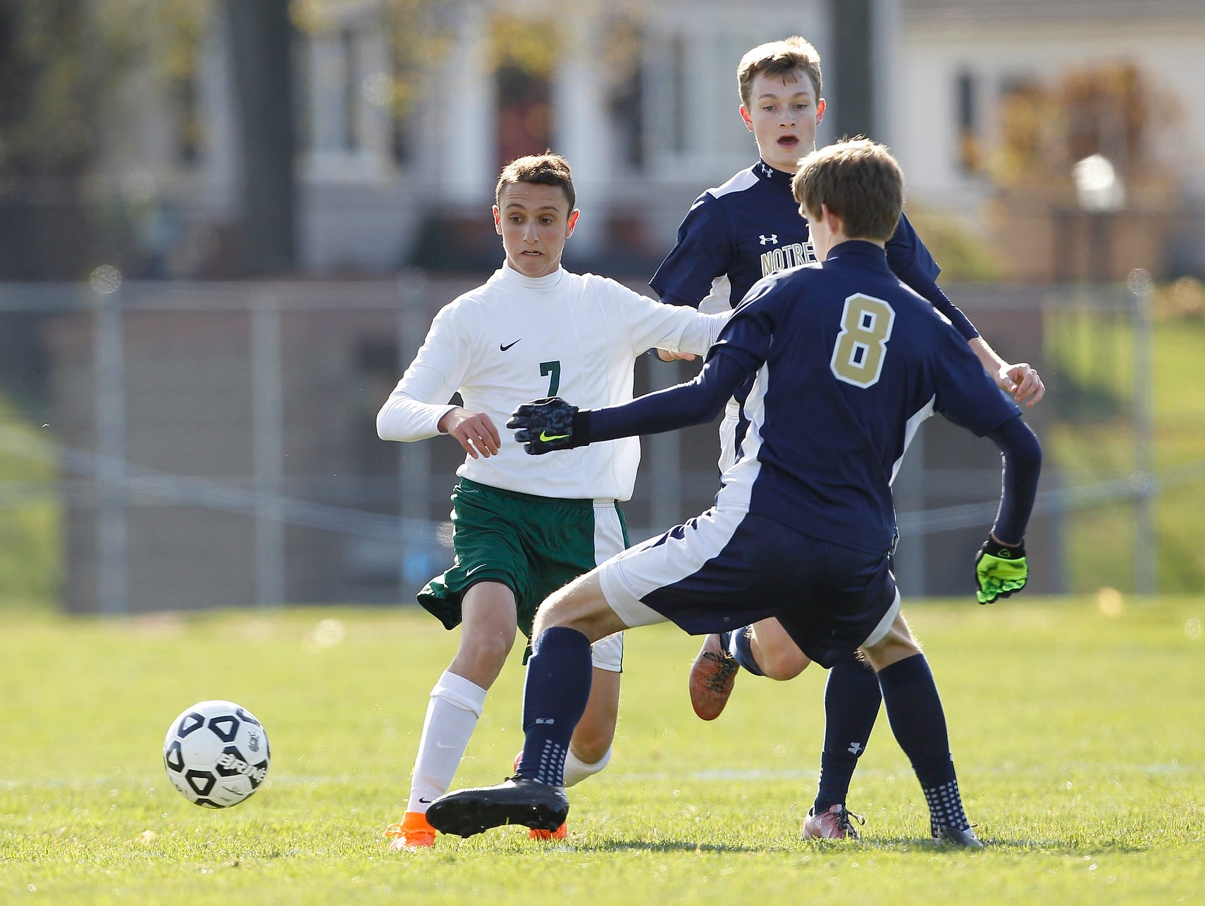 Solomon Schechter's Jonathan Tolchinsky (7) feeds a pass during their 9-1 loss to Notre Dame in the NYSPHSAA boys class C soccer final at Middletown High School on Sunday, Nov. 15, 2015.