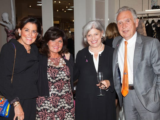 Left to right: Patricia Walsh Sumas; Rosemary Scoppetuolo, 2017 Pink Tie Party Co-Chair; Josine Spina Murano, Pink Tie Party Committee member; and Bill Sumas