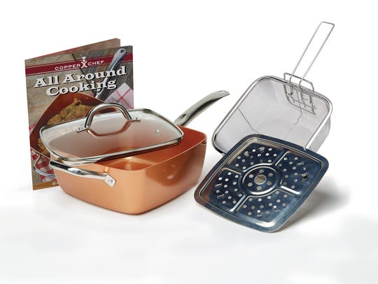 "Cooking: Copper Chef 9.5"" Square Pan w/Lid - Tristar"