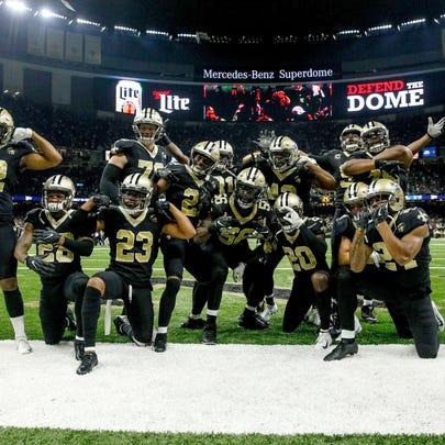 Sep 16, 2018; New Orleans, LA, USA; The New Orleans Saints defense poses after an interception safety Marcus Williams (43) during the fourth quarter against the Cleveland Browns at the Mercedes-Benz Superdome. The Saints defeated the Browns 21-18. Mandatory Credit: Derick E. Hingle-USA TODAY Sports