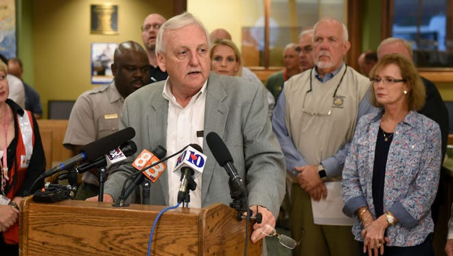 Sevier County Mayor Larry Waters during press conference Wednesday, Nov. 30, 2016 advising the death total has risen to seven.
