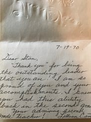 Lillian Carter's note of encourage to Abilene High
