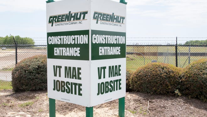 Construction of the VT Mobile Aerospace Engineering hangar at the Pensacola International Airport in Pensacola continues on Wednesday, April 12, 2017.