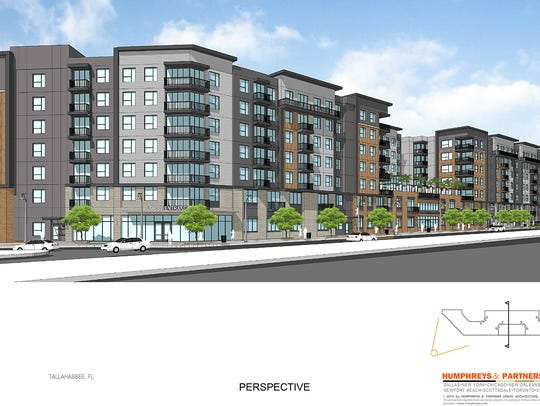 Park Place Tallahassee, a seven-story, 166-unit student apartment building proposed for the site of The Warehouse and Professional Automotive on Gaines Street