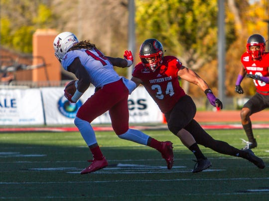 Eastern Washington wide receiver Jayson Williams (14) catches a pass during Saturday's game against Southern Utah, October 21, 2017, in Cedar City, Utah.