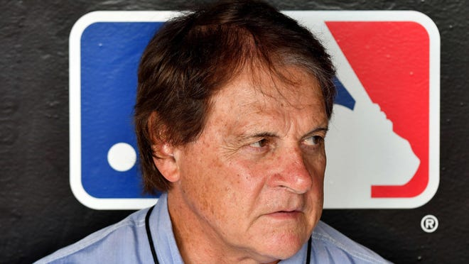 Apr 2, 2018; Miami, FL, USA; Tony La Russa is seen in the dugout prior to a game at Marlins Park.