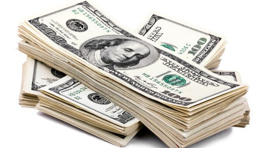 Isolated 100 US dollar Bills Stack