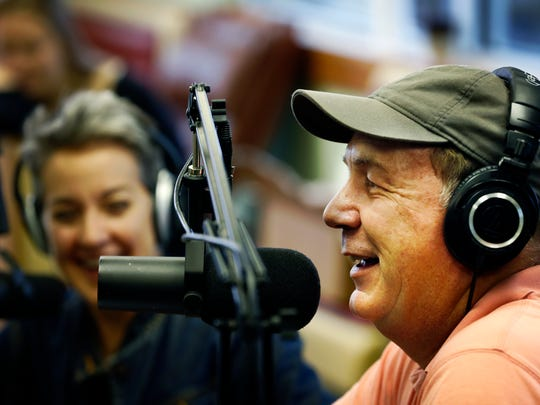 Mighty Fine Farm and Food podcast hosts Jere Downs and Steve Paradis laugh during one of the shows. May 26, 2016