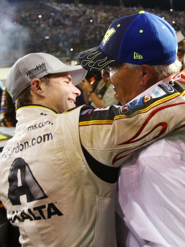 Jeff Gordon hugs team owner Rick Hendrick after the