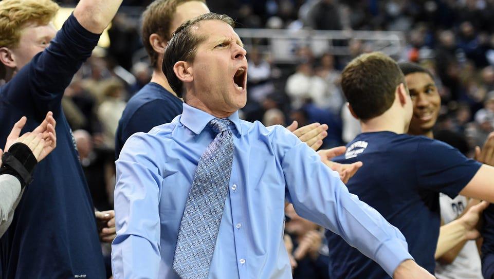 Nevada's head coach Eric Musselman cheers on his team