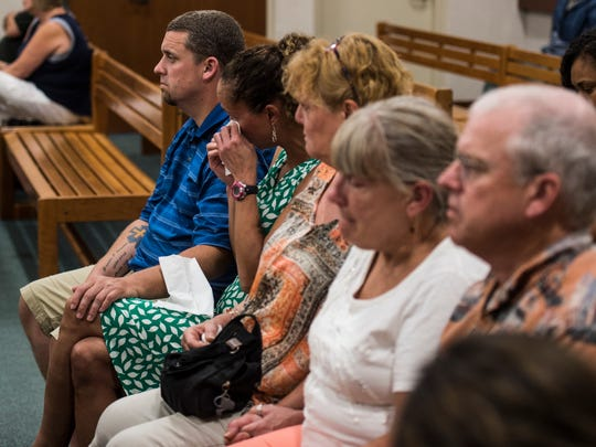 During a hearing in Vermont Superior Court in Burlington Thursday, Aug. 10, 2017, the family of Brendon Cousino listens to Karri Benoir plead guilty to causing a crash that killed the Richmond EMT on I89 in 2015.