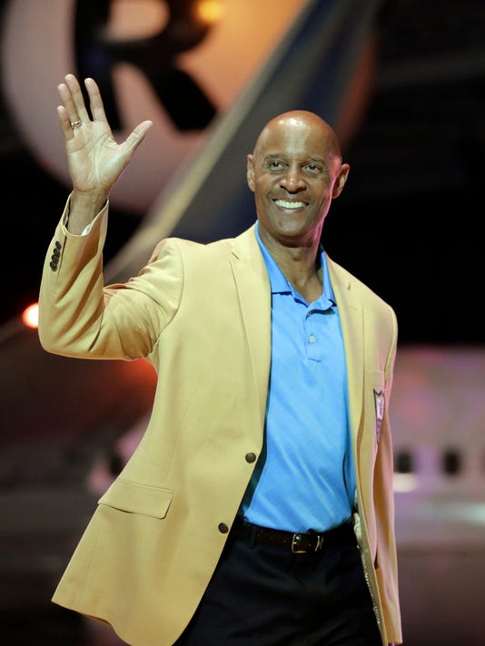 FILE - In this May 2, 2014, file photo, James Lofton is introduced before the inaugural Pro Football Hall of Fame Fan Fest at the International Exposition Center in Cleveland. One of the most skilled tall receivers in NFL history was Hall of Famer James Lofton. He went 6-3, 192 in an era when 200 pounds for a wideout was hefty. (AP Photo/Mark Duncan, File)