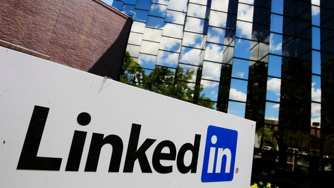 LinkedIn Corp., the professional networking Web site, displays its logo outside of headquarters in Mountain View, Calif.