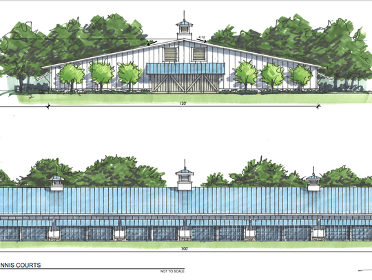 A rendering of planned indoor tennis courts at the