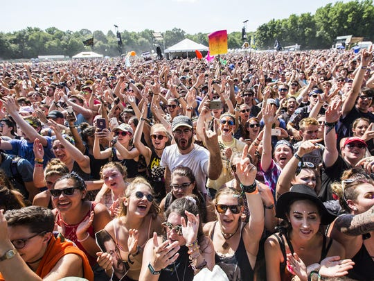 Fans cheer The Struts as they perform at Firefly Music Festival in Dover earlier this year.