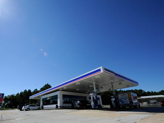 The Marathon gas station where a robbery was reported