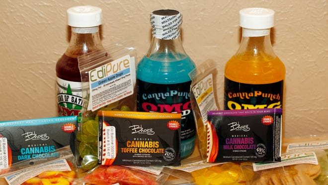 Edible marijuana products are pictured on display at a medical marijuana dispensary in Denver on April 18, 2014. Many of the items are far more potent than a single marijuana joint. Two recent deaths have raised concerns about Colorado's recreational marijuana industry and the effects of the drug, especially since cookies, candy and other pot edibles can be exponentially more potent than a smoked joint.