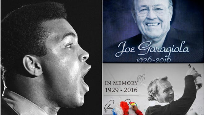 Muhammad Ali, Joe Garagiola and Arnold Palmer were among those sports figures who passed away in 2016.