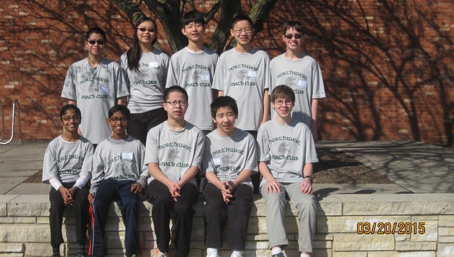 Northwest Junior High MathCounts competitors include, in the front row, from left to right: Divya Shyamal, Ananth Shyamal, Steven Yuan, John Li andYegor Kuznetsov. Back row, from left to right: Yangtian Shangguan, Frances Dai, Michael Han, Ethan Chen and Daniel Stewart.