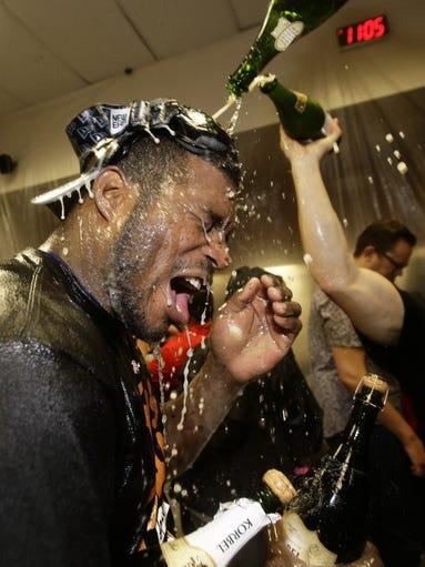 Los Angeles Dodgers Yasiel Puig has a champagne celebration