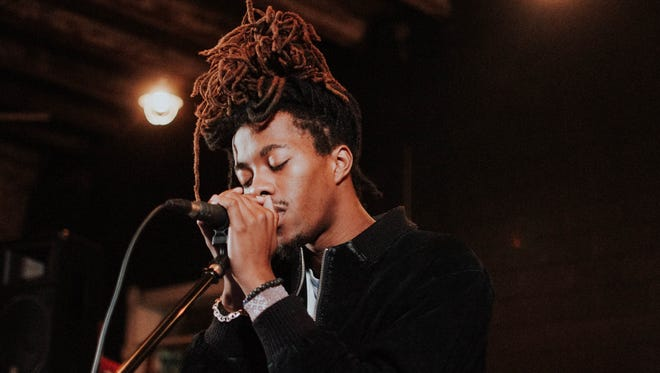 Hip hop artist Ejaaz performs during a Sofar Sounds Indianapolis show at Indiana City Brewing Co.
