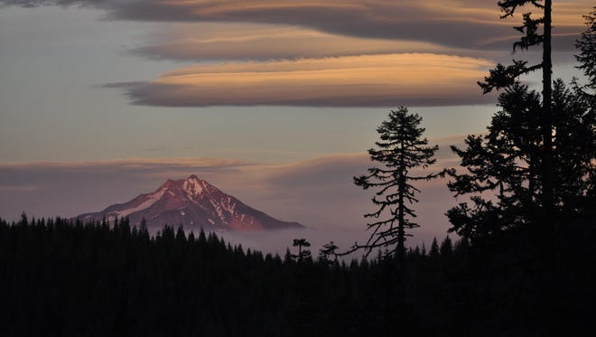 Smoke covers Mount Jefferson from the Whitewater Fire this summer.