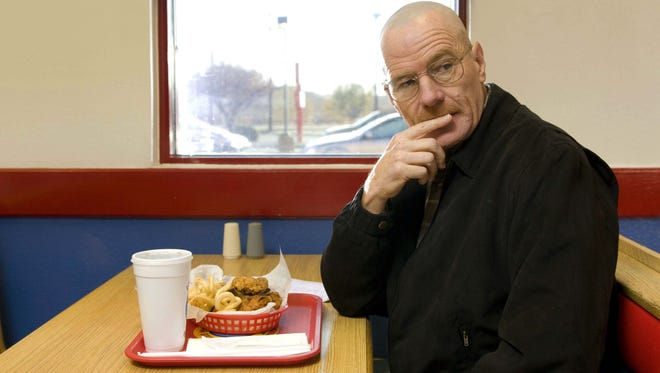 Walter White, played by Bryan Cranston, at the Los Pollos Hermanos restaurant owned by drug kingpin Gus Fring.
