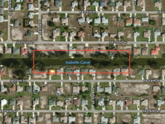 A map showing the area where the suspect, Wallie Julien, jumped into a canal while running from Cape Coral police.