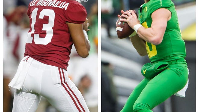Tua Tagovailoa of Alabama or Justin Herbert of Oregon. Who will the Miami Dolphins draft in April?